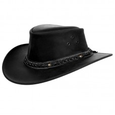 Leather tombstone western Hat - Black